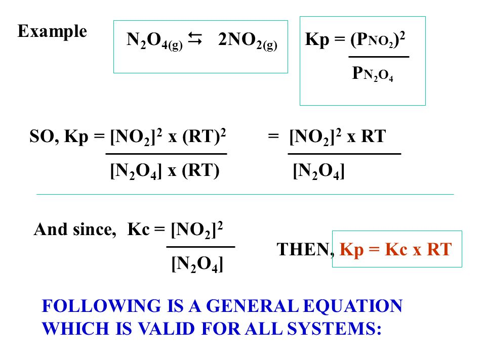 Example N2O4(g) D 2NO2(g) Kp = (PNO2)2. PN2O4. SO, Kp = [NO2]2 x (RT)2. [N2O4] x (RT) = [NO2]2 x RT.